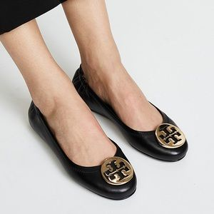 Tory Burch Minnie Ballet Flat Black Leather Gold